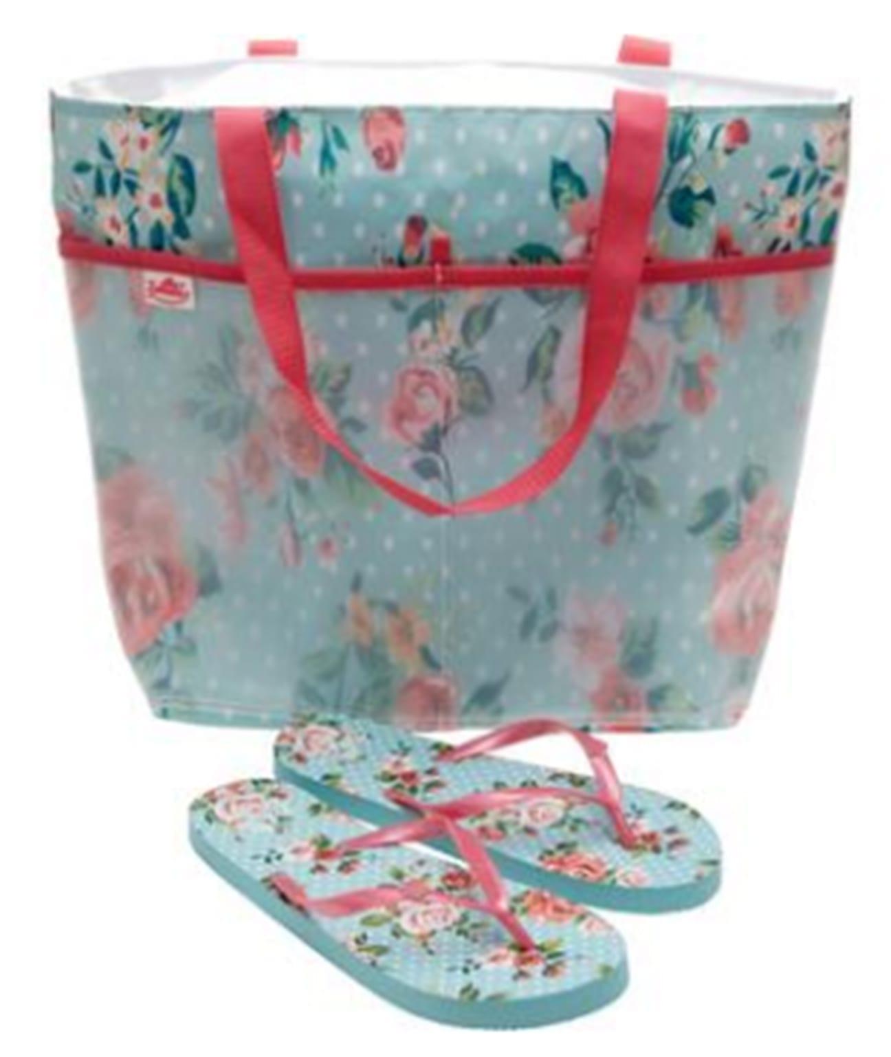 Zohula Summer Rose Beach Bag Matching Flip Flops